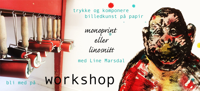 workshop monoprint og linosnitt